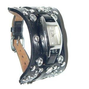 Guess black leather cuff watch G95649L